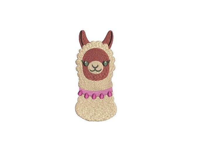 Llama Face 2 Alpaca Machine Embroidery File design 4x4 inch hoop