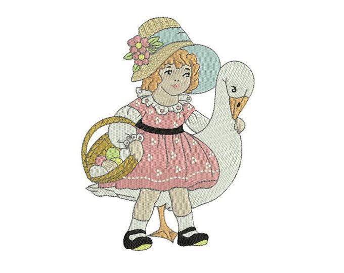 Whimsical Vintage Girl & Goose Easter Machine Embroidery File design 5x7 inch hoop - instant download