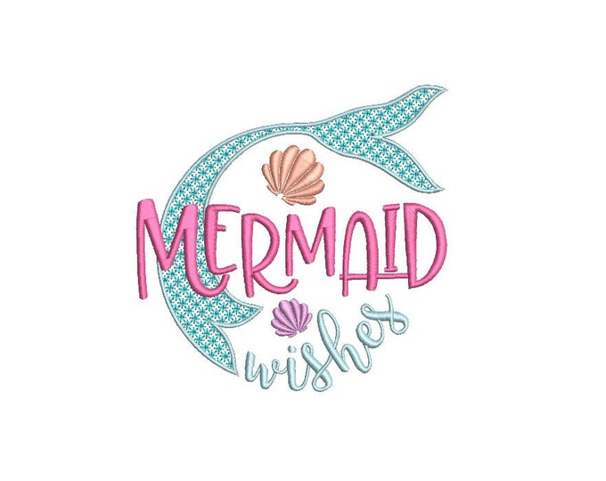 Mermaid Wishes Embroidery Design - Machine Embroidery File design - 5x7 hoop - Instant download