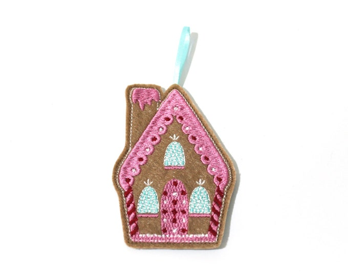 In the hoop Gingerbread House Ornament Decoration Machine Embroidery File design 4x4 inch hoop