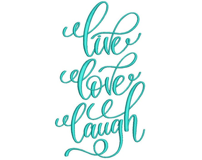 Whimsical 'Live Laugh Love' Machine Embroidery File design 5x7 hoop