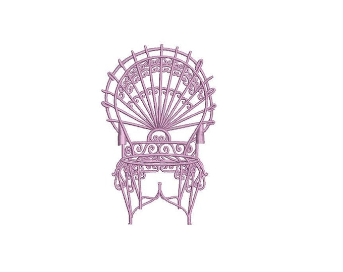 Chinoiserie Chic Vintage Peacock Iron Chair Machine Embroidery File design 4x4 hoop