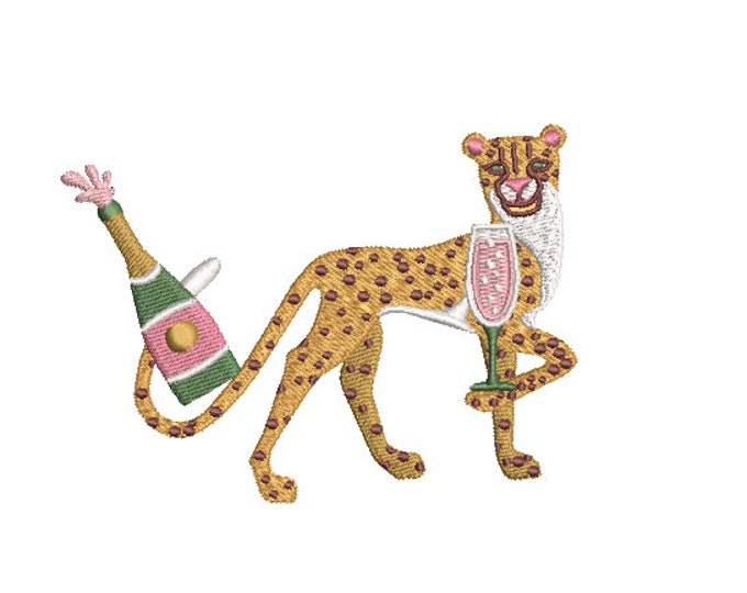 Featured listing image: Cheetah Champagne Machine Embroidery File design - 4x4 inch hoop - Chinoiserie Chic - Instant Download