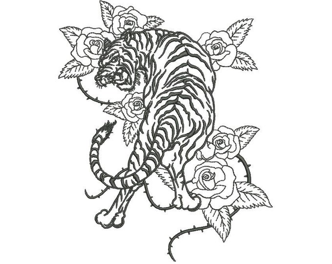 Tiger Embroidery Design - Tiger & Roses Urban Modern Machine Embroidery File design - 5x7 inch hoop - one colour - instant download