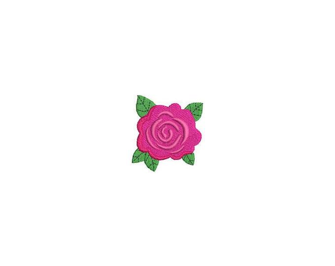 Rose Machine Embroidery File design - 4 x 4 inch hoop - Rosette - dad cap design - mini rose design