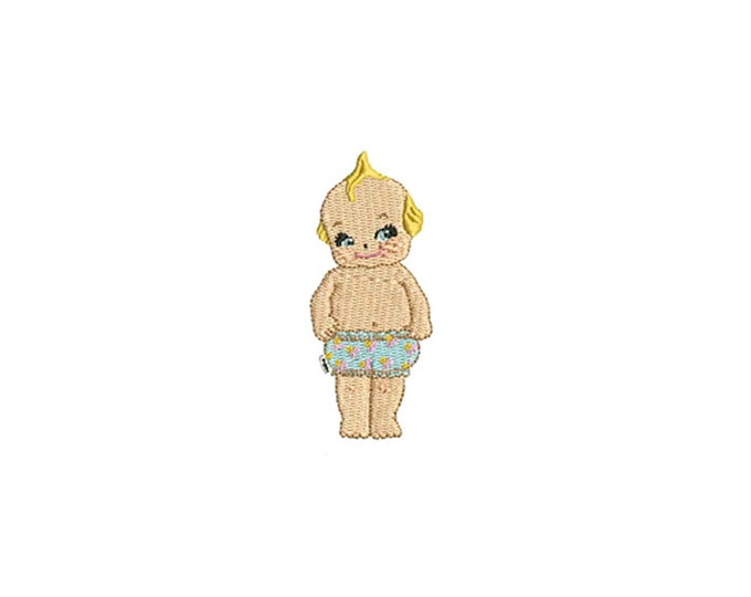 Whimsical SMALL Kewpie Doll Cupie Machine Embroidery File design 4x4 inch hoop