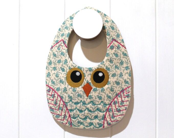 ITH In The Hoop Baby OWL Bib Machine Embroidery File design 8x12 ITH bib
