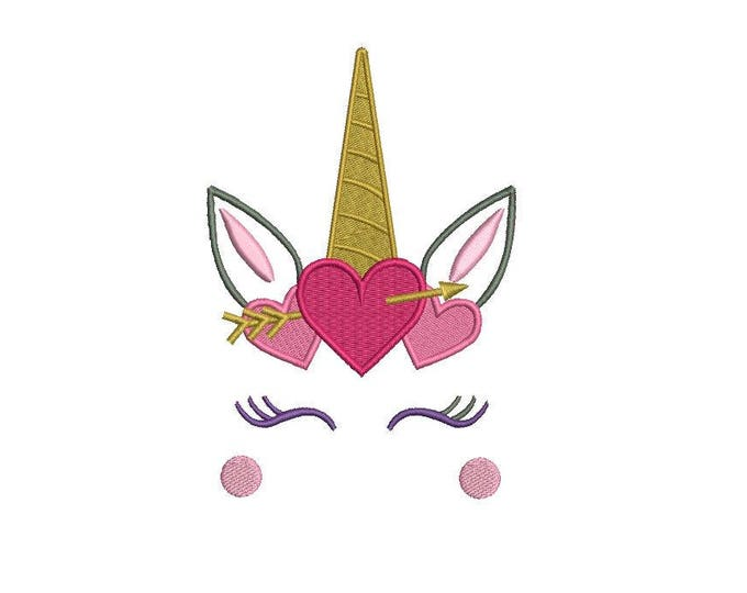 Unicorn Embroidery Deisgn -  Valentine Hearts Unicorn Face machine embroidery File design 5x7 inch hoop - instant download