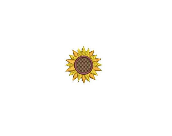 Sunflower Embroidery - Machine Embroidery Sunflower Mini 4cm Embroidery File design 4x4 hoop