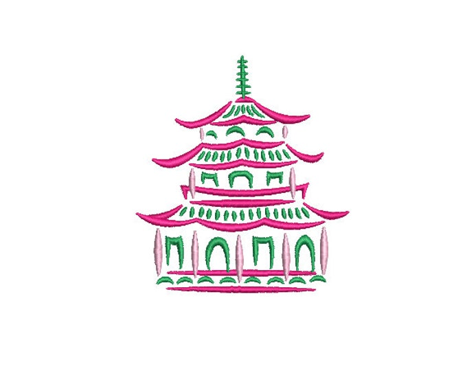Pagoda Embroidery Design - Painted Pagoda - Chinoiserie Chic Design - 4x4 inch hoop - Machine Embroidery Design