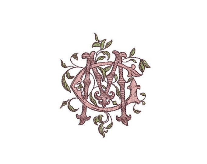 Antique Leafy C M Monogram -  Machine Embroidery File design - 4x4 inch hoop - Vintage Monogram