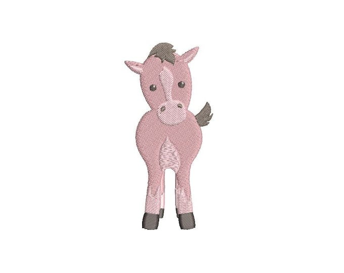 Pink Pony Embroidery -  Machine Embroidery File design -  4x4 inch hoop - lamb - instant download - baby girl design