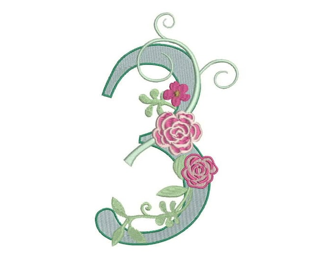 Number 3 - THREE - Rose - THIRD Birthday-  Machine Embroidery File design - 5x7 hoop - embroidery design