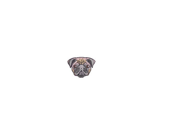 Mini Pug Dog Face Embroidery File design - 4 x 4 inch hoop  - instant download - 3cm