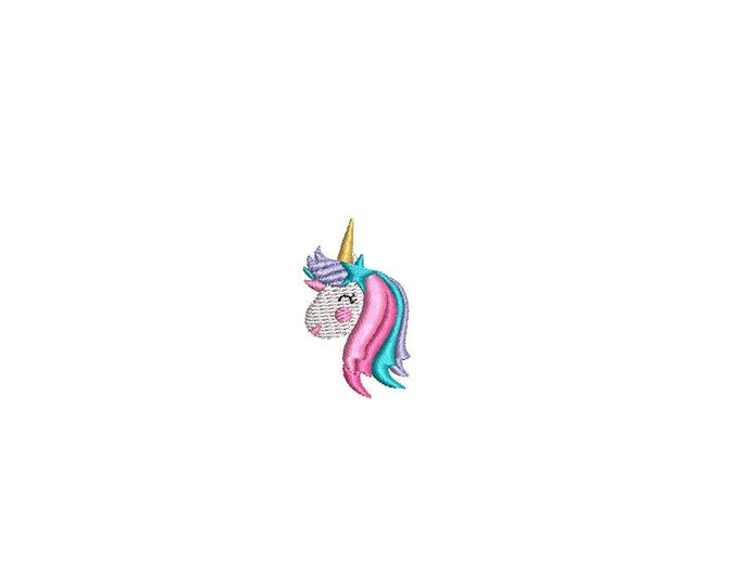 Mini Unicorn Embroidery - Machine Embroidery File design - 4 x 4 inch hoop - Instant download