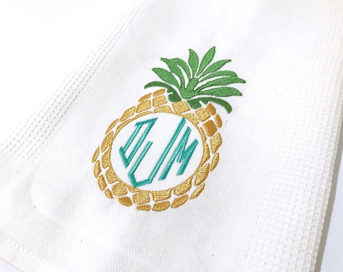 Machine Embroidery Tropical Summer Pineapple Frame Embroidery File design 4x4 inch hoop - Monogram