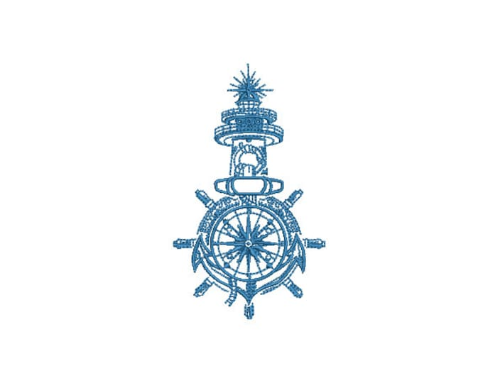 Nautical Illustration  Machine Embroidery File design - 4x4 inch hoop - Lighthouse Ships Wheel Compass