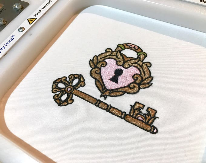 Gold Heart & Key Machine Embroidery File design 4x4 hoop - Wedding Embroidery - Instant download