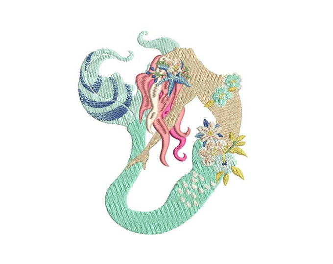 Mermaid Embroidery Design - Bohemian Mermaid With Flowers - Machine Embroidery File design - 5x7 inch hoop - Instant download