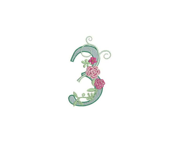Number 3 - THREE - Rose - Third Birthday-  Machine Embroidery File design - 4x4 hoop - embroidery design - instant download
