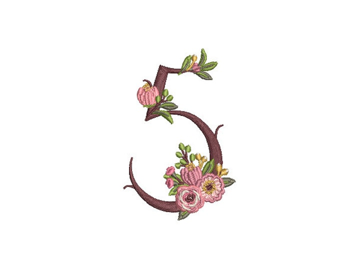 Floral Number 5 - FIVE - Fifth Birthday-  Machine Embroidery File design - 4x4 hoop - embroidery design