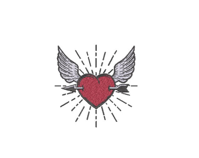 Heart Wings Arrow - Machine Embroidery File design  - 4 x 4 inch hoop - instant download