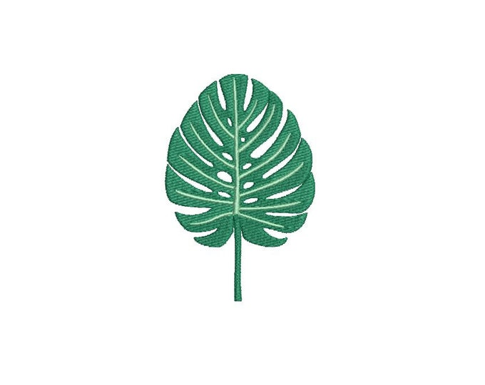Monstera Palm Leaf - Machine Embroidery File design - 4 x 4 inch hoop - Palm Silhouette