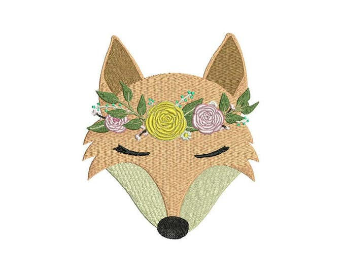 Machine Embroidery Whimsical Boho Fox Face Machine Embroidery File design 5x7 inch hoop - Instant download