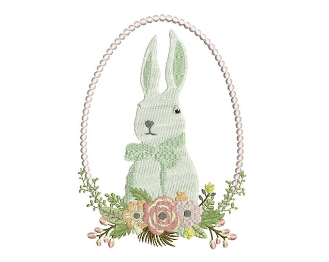 Machine Embroidery Whimsical Easter Egg & Bunny Wreath Embroidery File design 5x7 inch hoop