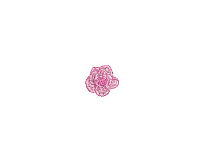 Mini Pink Rose Embroidery File design - 4 x 4 inch hoop  - instant download - 3cm