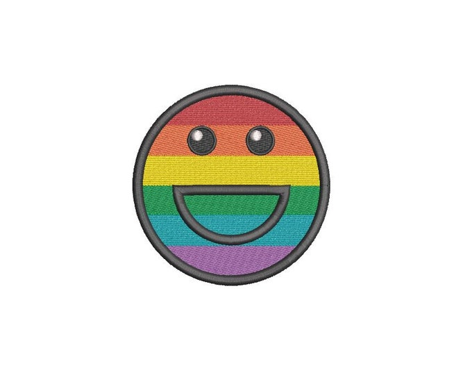Rainbow Smiley Happy Machine Embroidery File design 4 x 4 inch hoop