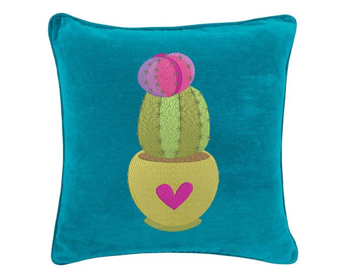 Cactus with heart Machine Embroidery File design 6x10 inch hoop - Makes a great Patch