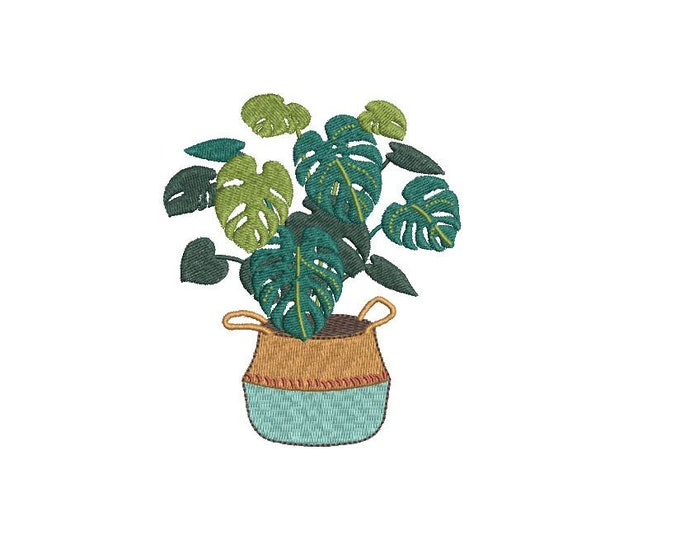 Monstera Embroidery - Hamptons Pot Plant - Machine Embroidery File design - 4 x 4 inch hoop - Instant Download