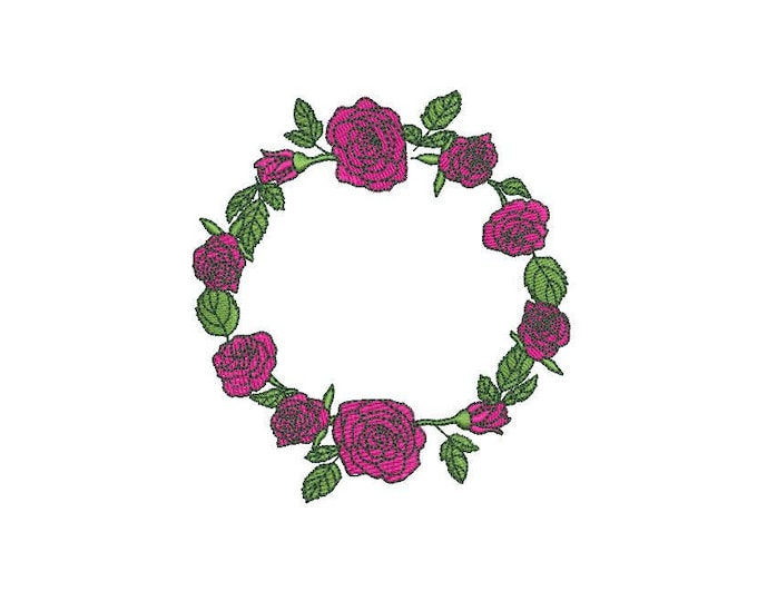 Simple Rose Wreath Machine Embroidery File design 4x4 inch hoop