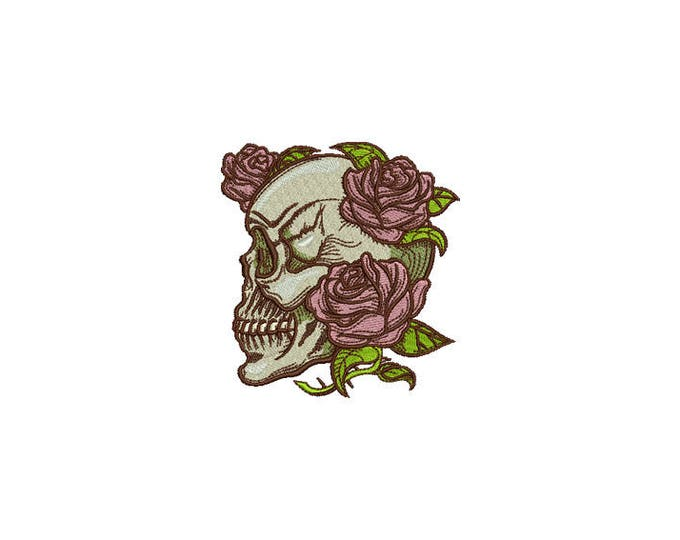 Skull Embroidery - Boho Gypsy Skull Roses Bohemian Machine Embroidery File design 4x4 inch hoop
