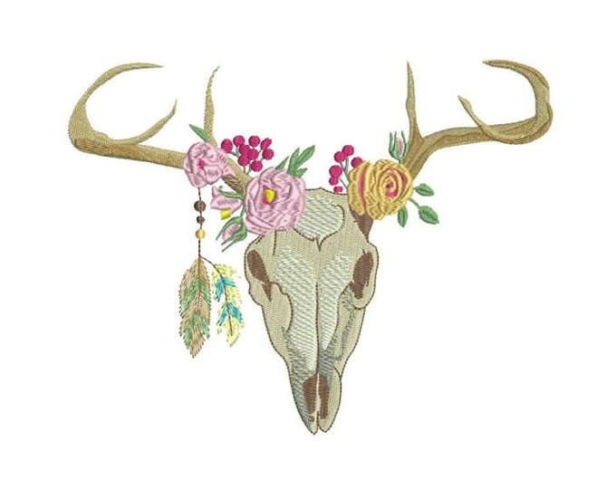 Machine Embroidery Bohemian Deer Skull With Feathers Machine Embroidery File design 8x12 inch hoop