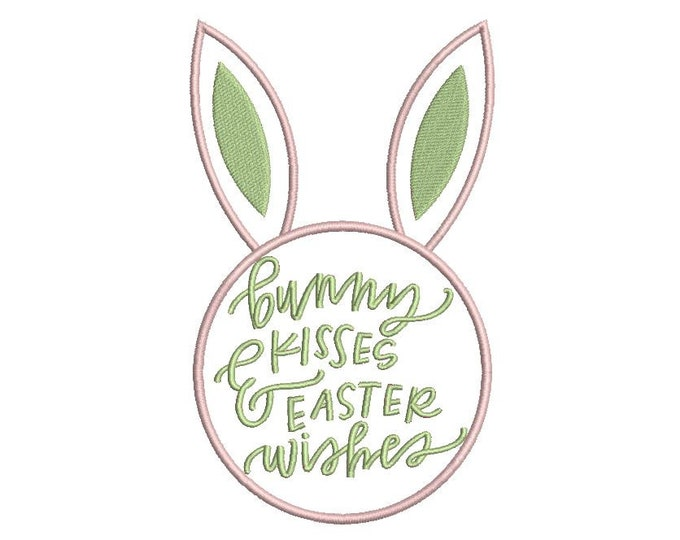 Bunny Kisses  Easter  Wishes Machine Embroidery File design 5x7 inch hoop 13x18cm