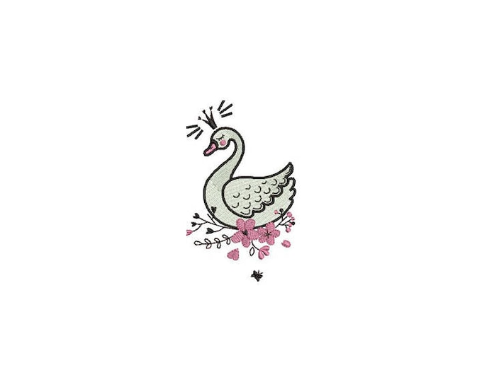 Whimsical Swan and flowers Machine Embroidery File design 4x4 hoop
