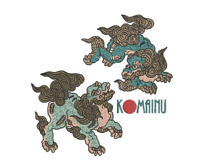Japanese Komainu Dragon Embroidery Design -  Urban Modern Machine Embroidery File design - 6x10 inch hoop - instant download