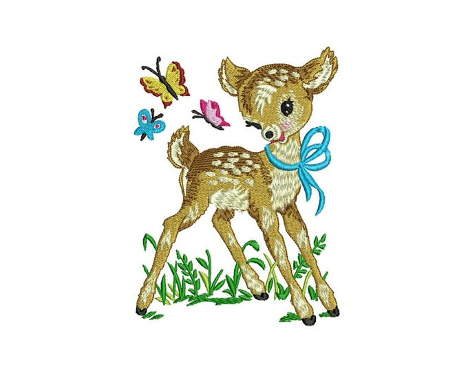 Deer & Butterflies Retro Vintage Machine Embroidery File design 5x7 hoop - instant download