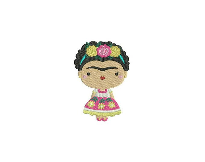 Mexican Girl With Flower Crown Machine Embroidery File design 4x4 inch hoop Embroidery Patch - instant download