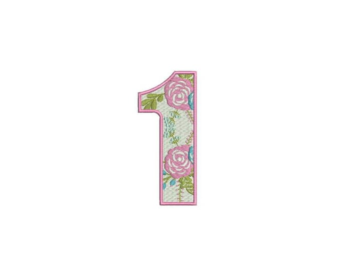 Number 1 - ONE - Floral - First Birthday-  Machine Embroidery File design - 4x4 hoop - embroidery design