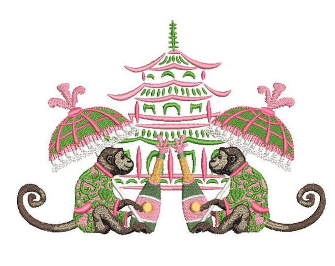 Chinoiserie Chic Machine Embroidery Design  - Monkey Pagoda Parasol Champagne - 5x7 hoop - sideways