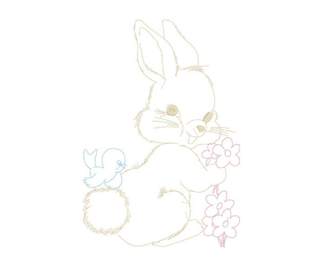 Whimsical Bunny & Bluebird Machine Embroidery File design 5x7 hoop