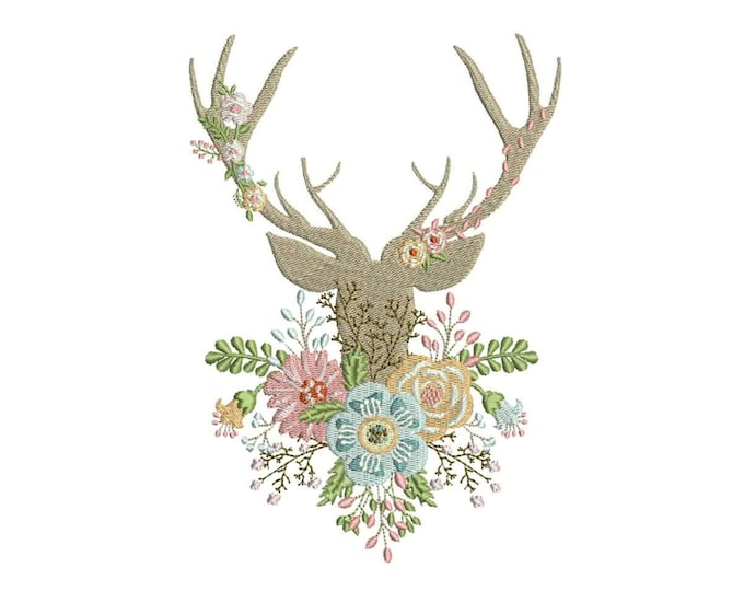Machine Embroidery Boho Whimsical Deer Antlers With Flowers Bohemian Machine Embroidery File design 5x7 hoop