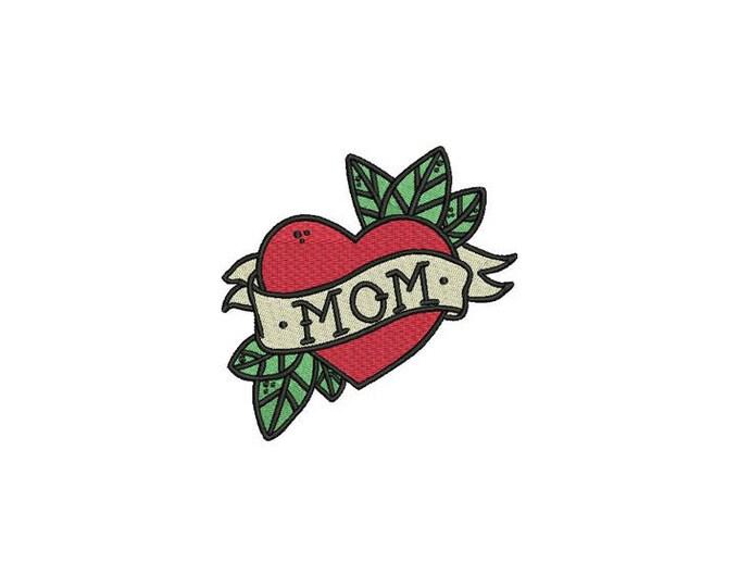 Mom Heart Tattoo Retro Machine Embroidery File design 4 x 4 inch hoop