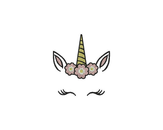 Unicorn embroidery design - Unicorn Face Flowers Machine Embroidery File design 4x4 inch hoop - instant download