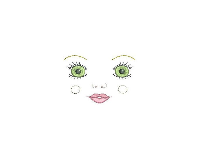 ITH In The Hoop Handmade look Kissing Doll Face Machine Embroidery File design 4x4 doll face embroidery