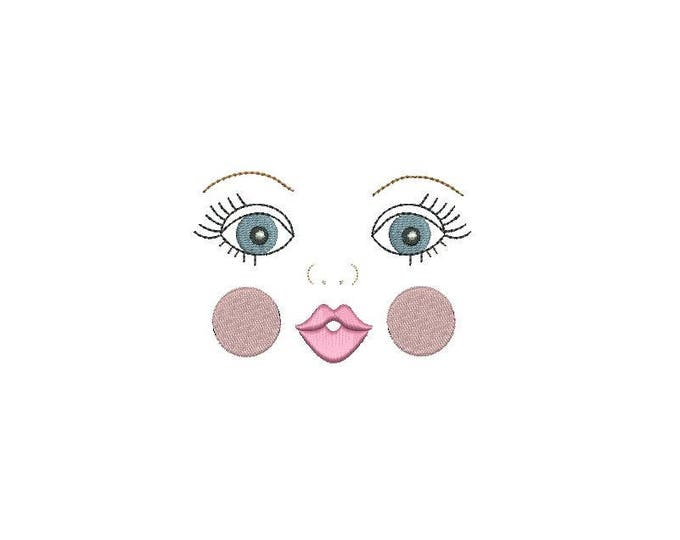 ITH Handmade Baby Doll Face Machine Embroidery File design 4x4 doll face embroidery