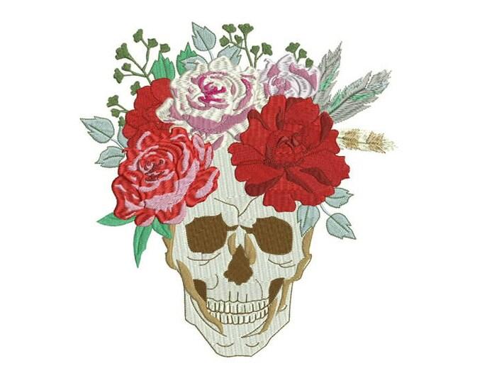 Machine Embroidery Boho Gypsy Rose Skull Bohemian Machine Embroidery File design 8x12 hoop